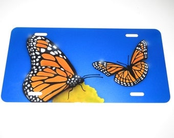 Butterfly airbrushed License Plate