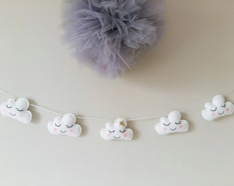 Cloud Garland, Cloud Bunting, Cloud Nursery, Nursery Decor
