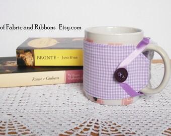 Cup cosy. Violet fabric cup cosy. Handmade cup cosy.