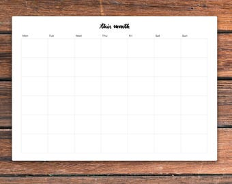 Printable monthly desk planner— This Month Planner. Two universal layouts: Mon first and Sun first. PDF inA4 & USLetter. Instant download
