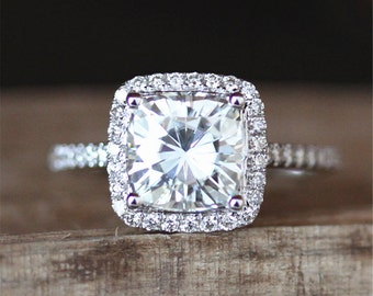 2ct Brilliant Moissanite Engagement Ring 7.5mm Cushion Cut Forever Classic Moissanite Ring Halo Diamonds Stackable Ring 14K White Gold Ring