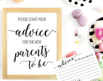 DIY PRINTABLE Advice for Parents To Be Sign and Advice Cards | Instant Download Baby Shower Printable | Couples Shower Parents to Be OB14