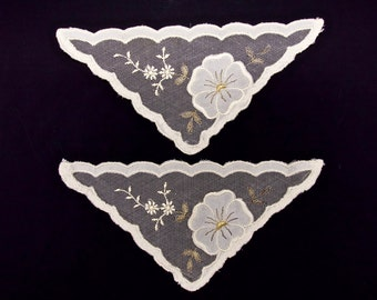 VINTAGE LACE IVORY Swiss Lace Trim Two Cream and Gold Floral Dressmaking Lace Embellishments Made in Switzerland