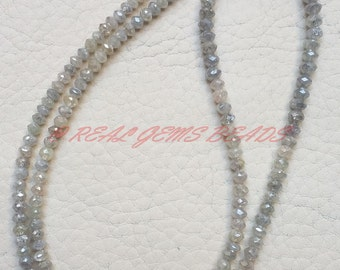 "RARE Natural Silver Diamond Rondelles, Silver Diamond Faceted Rondelle Beads, 2.7-3.5 MM, 7.25"" Strand, Loose Gemstone Roundel Beads"