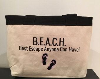 BEACH bag, beach tote, canvas beach bag