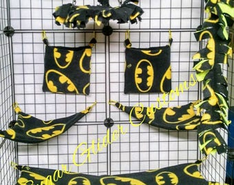 Batman 13 Piece Sugar Glider Cage Set. For small animals such as rats, gerbils, guinea pigs, hamsters, ferrets, hedgehogs, mice