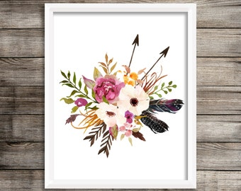 """Boho Floral Print   8"""" x 10""""   Instant Digital Download   Printable   Watercolour   Flowers   Feathers   Arrows   Tribal   Wall Decor"""
