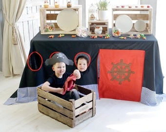 Pirate party decoration/ Pirate birthday/ Boys fort/ Tablecloth playhouse/ Boy birthday party/ Boys playhouse/ Table tent/ Kids tent