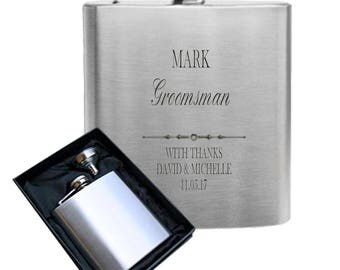 Customised engraved Groomsman 6oz stainless steel hip flask - wedding gift in black presentation box
