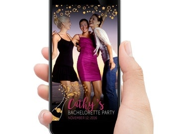 Bachelorette Party Snapchat filter // Gold sparkle champagne bottle // CUSTOMIZED