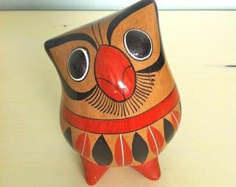 Clay Painted Owl/Terracotta Owl/Painted Pottery Owl/Mexican Tonala Owl/Ceramic Owl Figurine/Vintage Owl Figurine/Painted Owl/Ceramic Owl