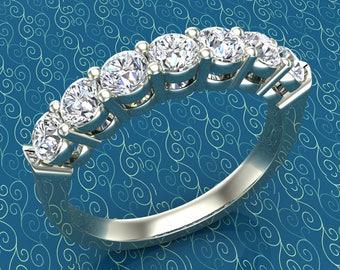 Seven Stone Cubic Zirconia Wedding Band Ring