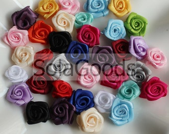 1.5cm fabric satin polyester ribbon Rolled Rosette Satin flower rose, rose flower assorted jewelry ornament jewelry making DIY accent 10/50