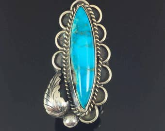LONG Turquoise Navajo Sterling Silver Ring - signed LD