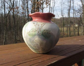 Vintage Art Pottery Vase Iris Flower Decoration