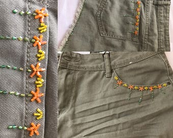Handmade beaded embroidered mini shorts