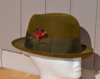 Vintage John B Royal Stetson Derby Bowler Style Hat Olive Green Size 7
