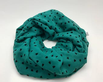SALE * scarf round tuquoise little black heart