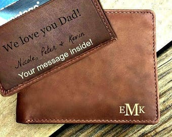 Father's day gift from son • engraved wallet •  personalized gift for dad, monogrammed wallet • Fathers day gift • Toffee  7751*
