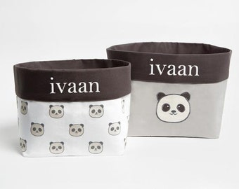 Peekaboo Panda - Fabric Storage Baskets, Nursery Storage Baskets, Storage Baskets, Canvas Storage Baskets, Baby Baskets, Nursery Baskets