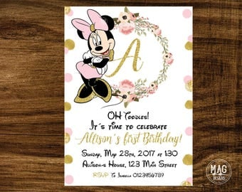 Minnie Mouse invitation - Pink and Gold Minnie Mouse Birthday - Minnie Mouse Birthday Invitation, Pink and Gold invitation. Digital FileGI