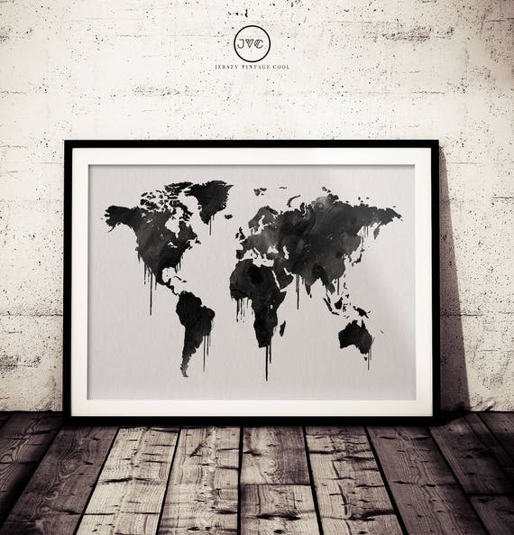 Black and white world map art print watercolor dripping world like this item gumiabroncs Choice Image