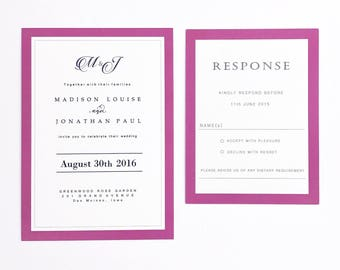 Modern Wedding Invitations in Cranberry, Classic Monogram Wedding Invitation Set with Wine Border,  Elegant Custom Wedding Invitations Suite