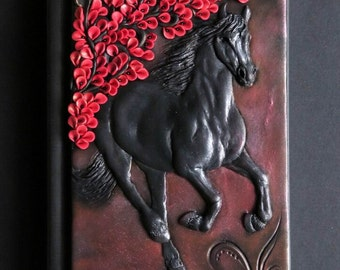 Friesian, polymer clay journal, black horse, notebook, fantasy, 196 blank pages