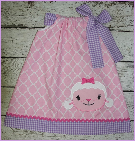 NEW Super Cute Doc McStuffins Lambie Pillowcase style dress in Pink quatrefoil and Lavender gingham