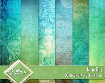 CU Commercial Use Background Papers set of 6 for Digital Scrapbooking or Craft projects NAUTILUS Papers, Designer Stock Papers