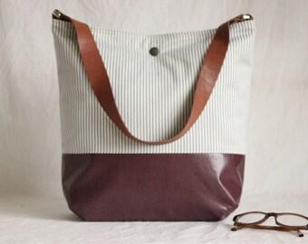 Shoulder bag stripes, Plum, cloth bag