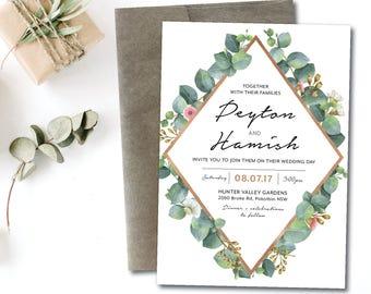 Greenery geometric wedding invitation, eucalyptus geometric wedding invitation, natural, greenery, white, rose gold, garden, boho  (Peyton)