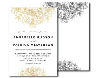 Gold Foil Floral Bouquet Wedding Invitation, Peony, Roses, Foliage Gold, Foil, Wedding Invite, Classic, Simple, Black and White (Royal)