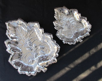 "LAST CALL Set of ""Silver"" Leaves Serving Tray  Serving Platter  with Strawberry Motiff in Center   463"