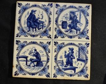 "Vintage 6 by 6"" Blue on White Tile, Trivet, Wall Hanging  982"