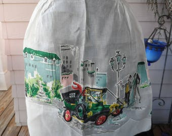 Free Shipping In USA Mid Century Sue-Sets Apron White Organza,Applique Early Century Buildings, Model T Quarter Moon Shaped Pocket 1183