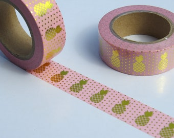 Pink and Gold Foil Pineapple Washi Tape/Masking Tape