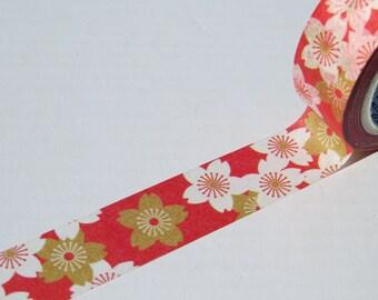 Red Sakura Washi Masking Decorative Paper Tape