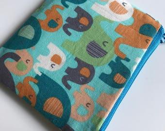 Elephant Zipper Pouch, Coin Purse, Pencil Case, Fabric Purse