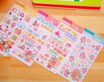 Kanahei naughty pink rabbit stickers cute kawaii animals rabbit chick cat