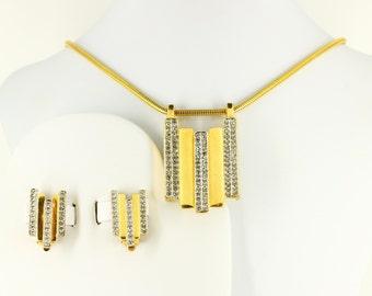 Big Art Deco Choker Necklace Clip On Earrings Set Parure - Large Formal Estate Jewelry - Vintage Mad Men Gold Rhinestone Geometric Statement
