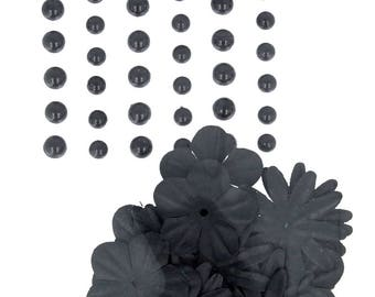 Self-adhesive pearls and flowers in black paper - flower embellishment - paper flower