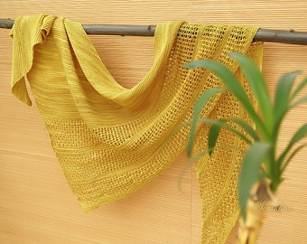 "Knitted shawl ""Mustard evening"" - oversized lace shawl - extra fine merino wool shawl - knit triangular shawl"