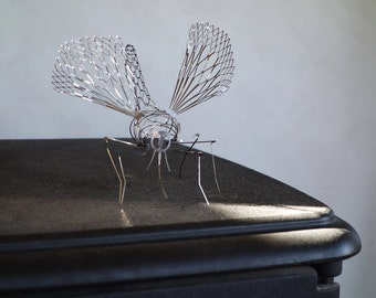 Mosquito Miniature Metal Artwork, table top sculpture, fireplace Decor , modern, Pair of 2 PCs, by Expand Life