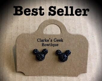 Black Mickey Mouse Ears Disney Costume Jewellery Earrings
