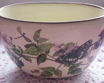 Vintage Porcelain Bone Cina Butterfly Floral Flower Pot Planter Container