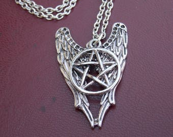 Supernatural Necklace, Fantasy Necklace, Angel Wings and Pentagram Jewelry Star Necklace , Amulet, Movie necklace, gift idea, cool gift