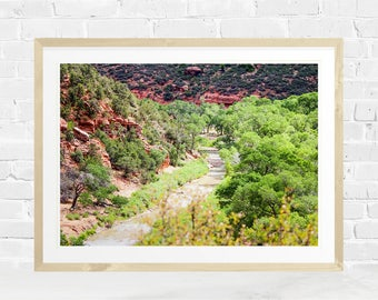 Mountain Print, Forest Photography, Nature Printable, River, Instant Download