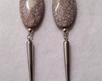 Grey Spike Earrings