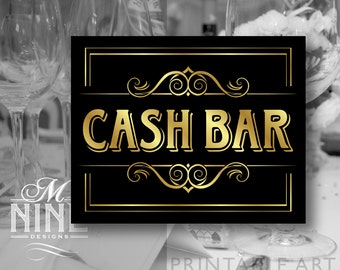 """Vintage Black and Gold Printable Sign """"Cash Bar"""" Party Signs, Printable Party Download, Wedding Signs BWBG60"""